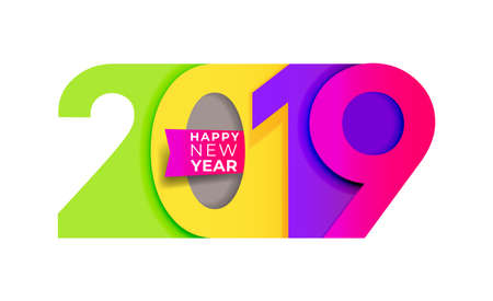 Happy New Year. 2019 Colorful number text design typography pattern. Design for greeting poster and cards, calendars, banners, site, business card, covers. Vector illustration