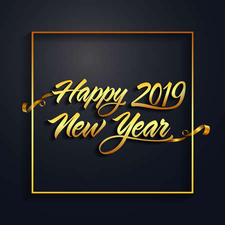 Happy new year 2019 gold and black colors. Text Design calendar. Freehand drawing. Christmas balls. Vector illustration. Isolated on a dark background