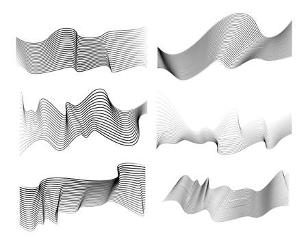 Set of optical art wave abstract lines background black and white. Vector illustration. Isolated on white background. Ilustração