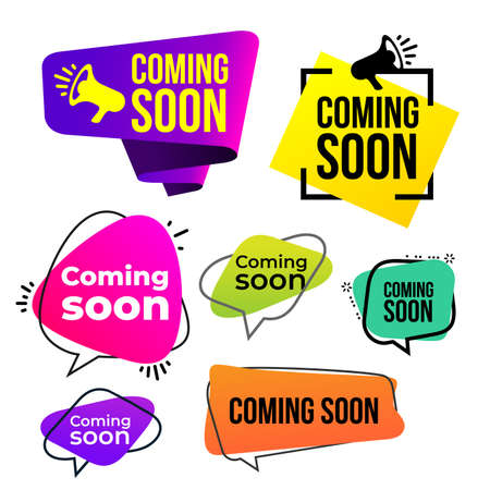 Set of coming soon icon. Vector illustration. Isolated on white background.