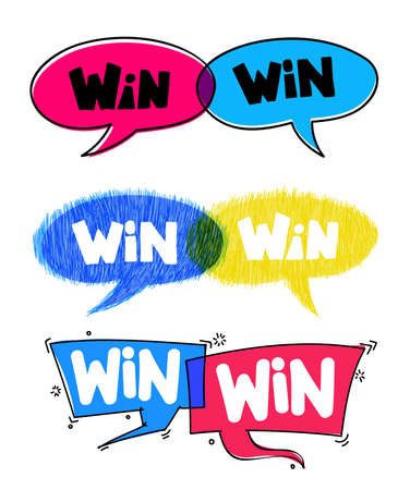 Set of Win-win. Business concept. Drawn by hand vector illustration. Isolated on white background.