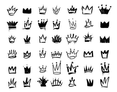 Set of Crown logo graffiti icon. Drawing by hand black elements. Vector illustration. Isolated on white background