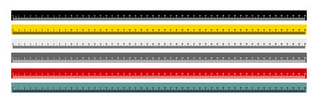 Maßmaß Metrikbandlineal metrische Messung. Metrisches Lineal. 50 Zentimeter metrisches Lineal mit schwarzer, gelber, grauer, roter und graublauer Farbe. Vektorillustration. Auf weißem Hintergrund isoliert.