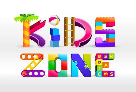 Diseño de logotipo Kids Zone. Parque infantil. Logotipos coloridos. Ilustración vectorial. Aislado sobre fondo blanco. Logos