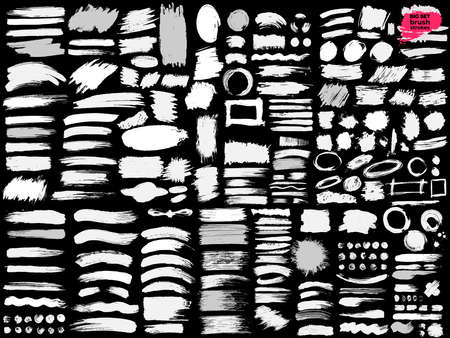 Giant Set of Black brush strokes. Paint, brushes, ink, lines, grunge. Dirty artistic design elements, frames, boxes. Freehand drawing. Vector illustration. Isolated on black background.