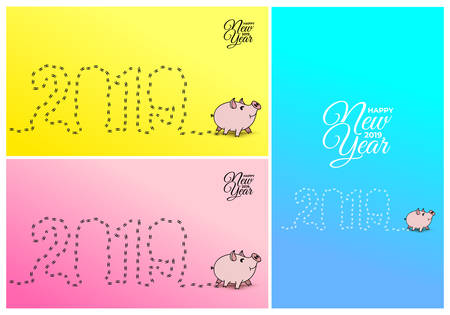 Happy new year 2019. Footpath trail of pig prints 2019. Chinese new year greeting card. Vector illustration. Isolated on yellow, pink and blue background.