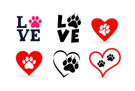 Set of Love with pet footprint.