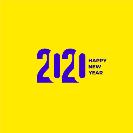 2020 text design pattern. Collection of Happy New Year and happy holidays. Vector illustration. Isolated on yellow background. Ilustrace