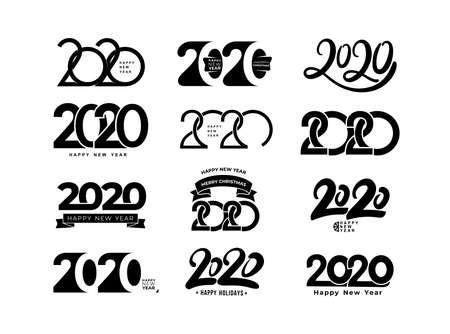 Duży zestaw wzorca projektowego tekstu 2019. Kolekcja szczęśliwego nowego roku i wesołych świąt. Ilustracja wektorowa. Na białym tle.