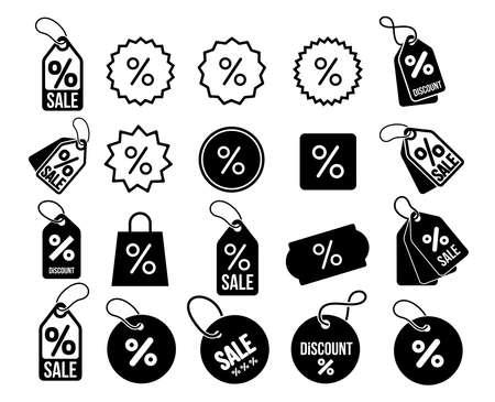 Big set of Discount, percentage icon symbol. Vector illustration. Isolated on white background.