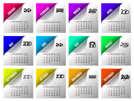 Calendar 2020 template. Calendar design in black and white colors, holidays in red colors on colored stickers. Vector illustration. Isolated on white background.