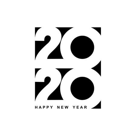 Happy New Year 2020 logo text design. Cover of business diary for 2020 with wishes. Brochure design template, card, banner. Vector illustration. Isolated on white background. Illustration