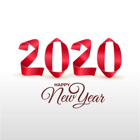 New Year 2020 greeting card. Handmade red painted strips bent into numbers shapes. Vector illustration. Isolated on white background.