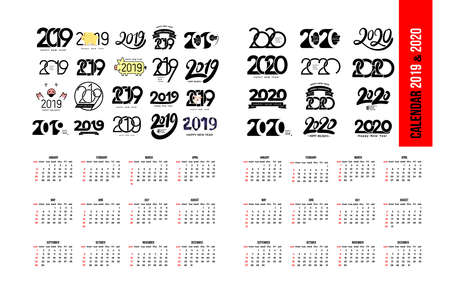 Set of Calendar 2019 and 2020 template. Calendar logo design in black and white colors, holidays in red colors. Vector illustration. Isolated on white background.