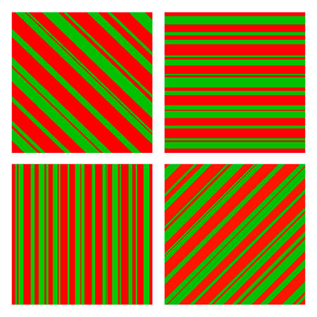 Set of Christmas Colors Striped Pattern. Vector illustration. Isolated on white background.