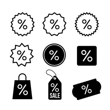 Set of Discount, percentage icon symbol. Vector illustration. Isolated on white background.