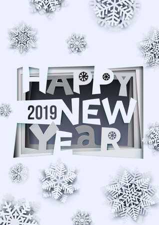 Creative happy new year 2019 design. Happy new year 2019 paper art and craft style. A-4 format. Vector illustration. Isolated on white background.