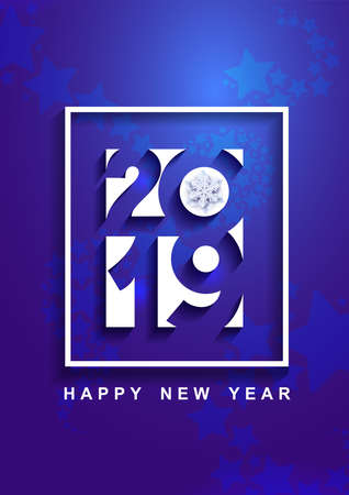 Happy New Year 2019 text design. Cover of business diary for 2019 with wishes. Brochure design template. Vector illustration. Isolated on purple background.