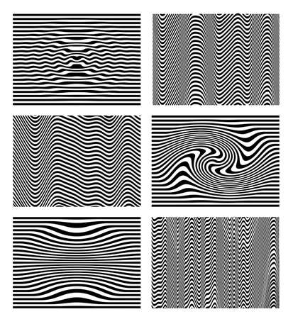 Set of black and white wave stripe optical abstract. Design background. Curved lines. Vector illustration. Isolated on white background.