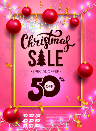Christmas sale flyer template. Banner with hand draw pattern. Winter promotion vertical coupon. Applicable for discount flyer, roll up, poster. Vector illustration. Isolated on pink background.