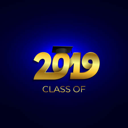 Class of 2019 with graduation cap. Text design pattern. Vector illustration. Isolated on blue background. Ilustrace