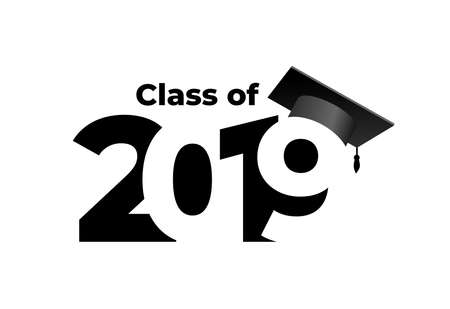 Class of 2019 with graduation cap. Text design pattern. Vector illustration. Isolated on white background.