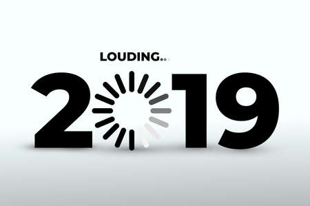Doodle with 2019 loading. New year download screen. Progress bar almost reaching new years eve. Vector illustration. Isolated on white background. Ilustrace