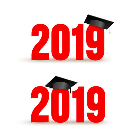 Set of Class of 2019 with Graduation Cap. Vector illustration. Isolated on white background.