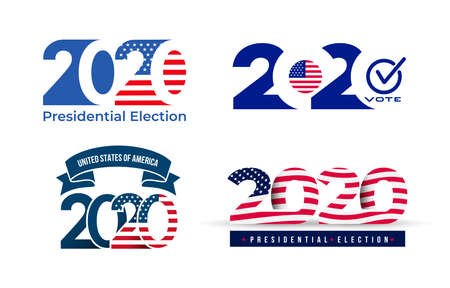 2020 United States of America presidential election logo. Text design pattern. Vector illustration. Isolated on white background. Illusztráció