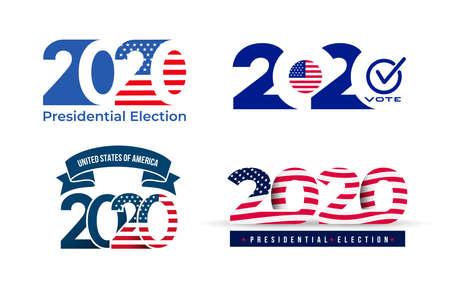 Logo delle elezioni presidenziali degli Stati Uniti d'America 2020. Modello di progettazione del testo. Illustrazione vettoriale. Isolato su sfondo bianco. Logo