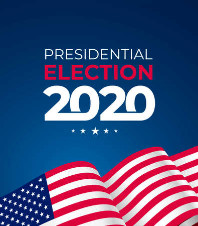 2020 United States of America presidential election. Text design pattern. Vector illustration. Isolated on blue background. Ilustrace