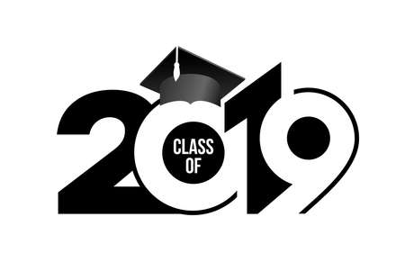 Class of 2019 with graduation cap. Text design pattern. Vector illustration. Isolated on white background. Stock Vector - 123288706