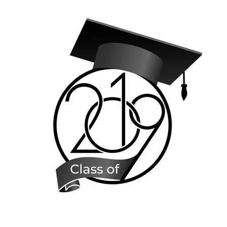 Class of 2019 with graduation cap. Text design pattern. Vector illustration. Isolated on white background_3