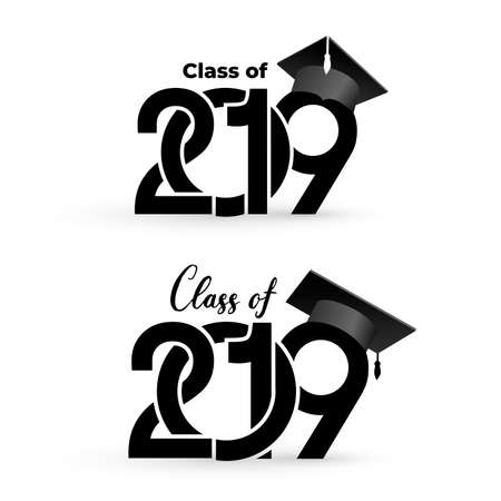 Class of 2019 with graduation cap. Text design pattern. Vector illustration. Isolated on white background Ilustrace