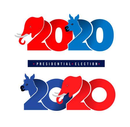 Symboles d'âne et d'éléphant des partis politiques en Amérique. Élection présidentielle des États-Unis d'Amérique de 2020. Conception de logo. Illustration vectorielle. Isolé sur fond blanc.