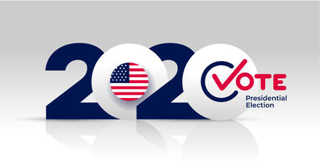 Election header banner 2020 United States of America Presidential election. With Patriotic Stars and Stripes Theme. Vote Design logo. Vector illustration. Isolated on white background. Ilustrace