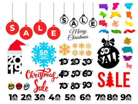 Set of Christmas sale. Template banners with hand draw pattern. Winter promotion vertical coupon. Applicable for discount flyer, roll up, poster. Vector illustration. Isolated on white background.