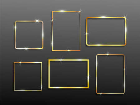 Set of gold shiny glowing vintage frame with shadows. Wedding or Valentines day concept. Xmas and New Year. Golden luxury realistic border. Vector illustration. Isolated on black background.