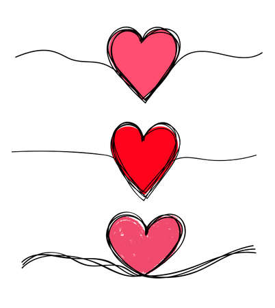Ensemble de coeurs grunge enchevêtrés gribouillis dessinés à la main avec une ligne fine, forme de diviseur. Illustration vectorielle. Isolé sur fond blanc. Vecteurs