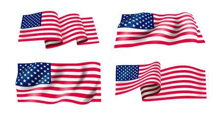 Set di sventolando la bandiera degli Stati Uniti d'America. Bandiera americana ondulata per il giorno dell'indipendenza. Illustrazione vettoriale. Isolato su sfondo bianco.