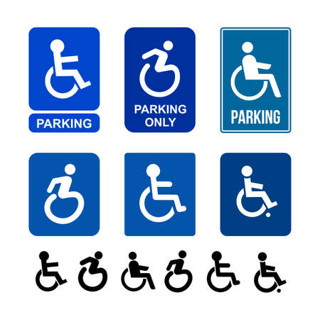 Set of wheelchair, handicap or accessible parking or access sign flat blue icon for apps and print. Vector illustration. Isolated on white background
