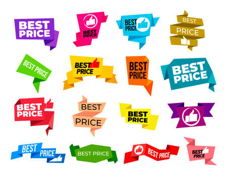 Best price. Set of Special offer sale grunge tag. Discount price label, sale promo marketing, symbol for advertising campaign in retail. Vector illustration. Isolated on white background. Ilustrace