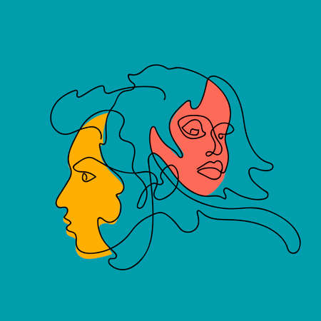 Female and male face continuous line, drawing of set faces and hairstyle. Fashion concept, woman beauty minimalist. For t-shirt, slogan design print graphics style. Vector illustration. Ilustrace