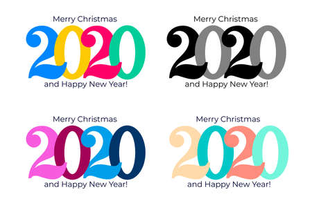 Happy new year 2020. Cover of card logo for 2020. Set of Vector illustration. Isolated on white background.
