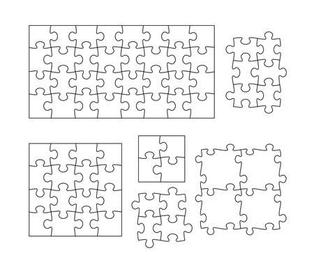Set of black and white puzzle pieces. Vector illustration. Isolated on white background.