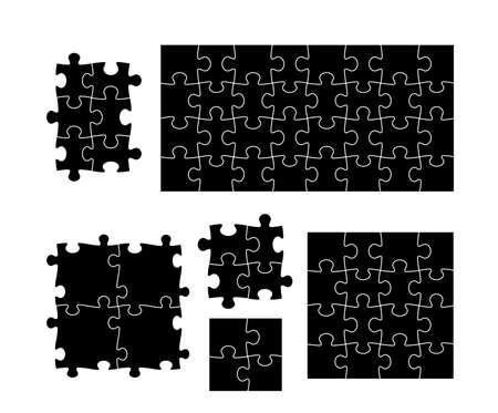 Set of black puzzle pieces. Vector illustration. Isolated on white background. Ilustrace