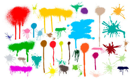 Set of different colorful splash, brush strokes. Blank shapes for your design. Line or texture. Vector illustration. Isolated on white background.