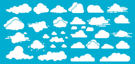 Set of Different white clouds.Vector illustration. Isolated on blue background.
