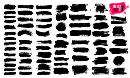 Big Set Of Black Brush Strokes, Paint, Ink, Grunge, Brushes, Lines. Dirty Artistic Elements, Boxes, Frames. Freehand Drawing. Vector Illustration. Isolated On White Background.