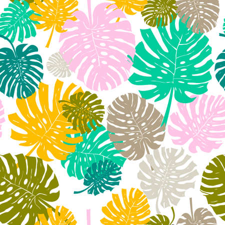 Palm Leaf Seamless Background. Monstera leaf pattern. Flat Design. Vector Illustration. Isolated On White Background.